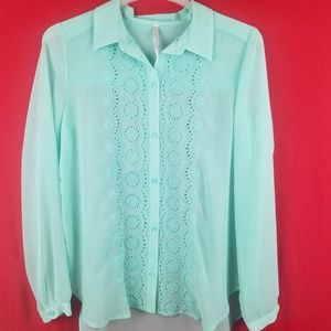 Lauren Conrad Mint Green Long Sleeve Blouse SZ M/L